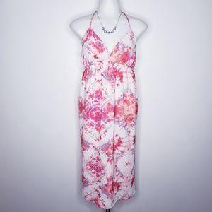CAD watercolor tie dye halter empire waist dress